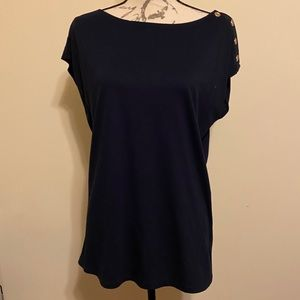 5/$25 NWT Talbots navy blue blouse button detail